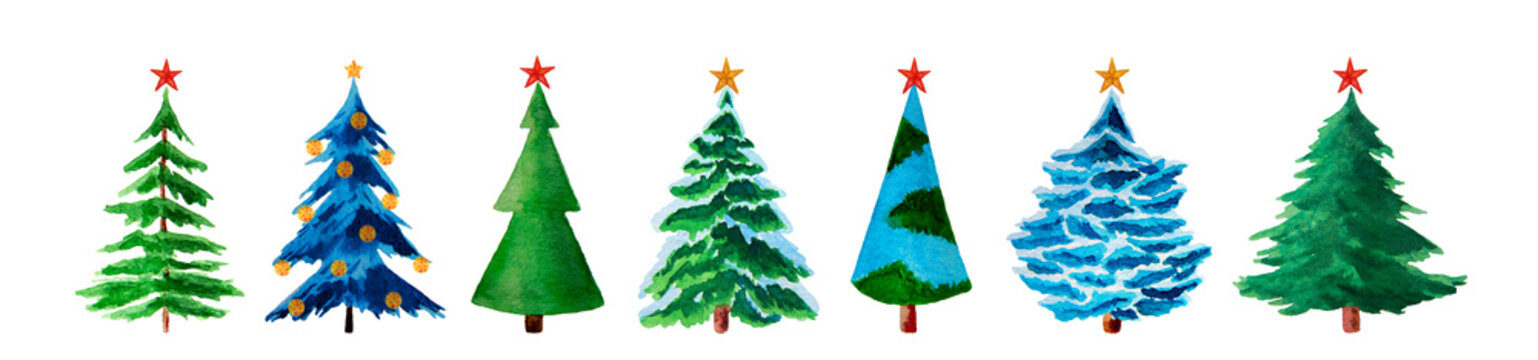 Watercolor fir trees with christmas stars isolated on white.