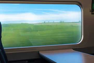 Abstract landscape from train window