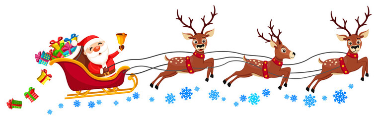Santa Claus is riding a sleigh with reindeer and ringing a bell on a white. Christmas character