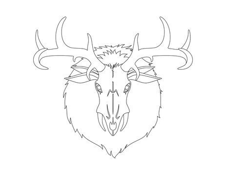 Wendigo monster head. Animal skull with deer horns fur and ears. Creature from native american folklore beliefs. Windigo mythical evil spirit for halloween or folklore school lesson. vector image