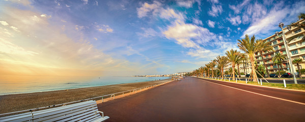 Wall Mural - Promenade des Anglais in Nice at sunset. Cote d'Azur, French riviera, France