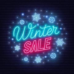 Fototapete - Winter sale neon sign on dark background.