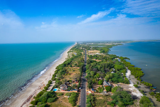 Aerial view of fishing village of Djiffer. Saloum Delta National Park, Joal Fadiout, Senegal. Africa. Photo made by drone from above.