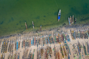 Aerial view of fishing village of Djiffer. Saloum Delta National Park, Joal Fadiout, Senegal. Africa. Photo made by drone from above. Fototapete