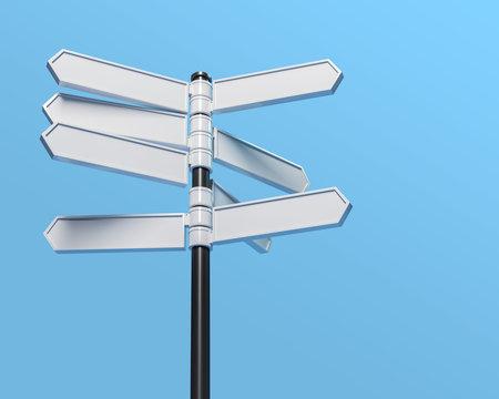 Blank multidirectional sign post, 3d illustration