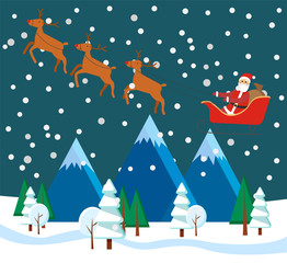 Zelfklevend Fotobehang Groen blauw Christmas holidays with Santa Claus in carriage riding with reindeers. Xmas night with snowing weather and winter landscape above. Trees and mountains covered with snow. Christmas character vector