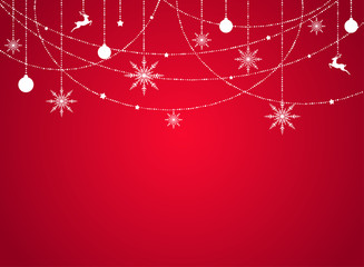 Winter background with flat white snowflakes, beads, stars and balls on red background.