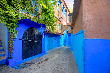 Colourful houses with blue painted walls in old medina of Chefchaouen. Morocco, North Africa