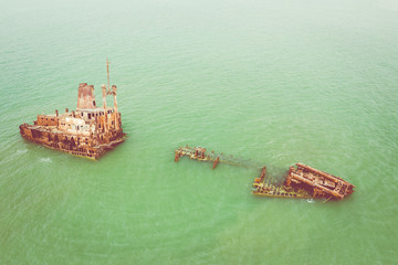 Acrylic Prints Shipwreck Aerial view of ship wreck near palmarin, Senegal.