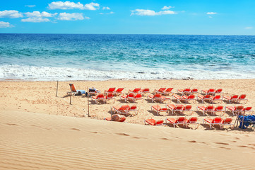 Playa del Ingles beach. Maspalomas, Gran Canaria, Canary islands, Spain