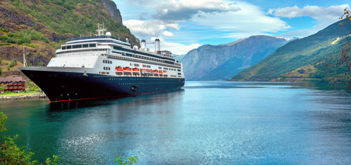 Cruise ship in harbour of Flam. Sognefjord, district Aurland, Norway