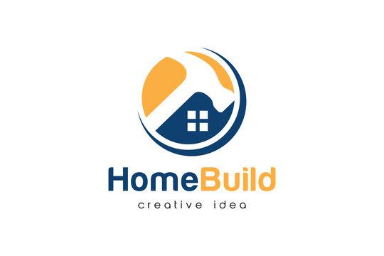 Creative Home Construction Concept Logo Design Template