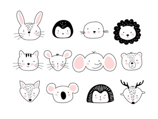 A poster with portraits of cute animals. Children s doodle print with different animals. Wild animals, pets, marine life. Template for children coloring book, postcard, print. Vector flat stock