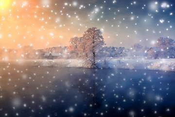 Winter scenic chrisctmas sunrise