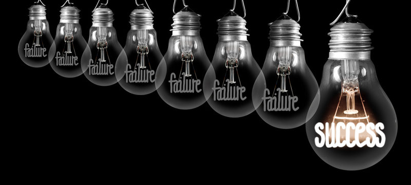 Light Bulbs with Failure and Success Concept