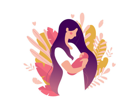 Young mother with a newborn baby in her arms. Woman with a baby on a background of nature and leaves. The concept of motherhood, health, family. Flat vector illustration isolated on white background