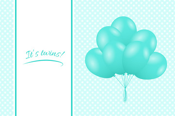 Baby twins shower card. Greeting card with balloons