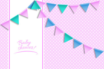 Baby shower card. Greeting card with balloons and bunting flags.