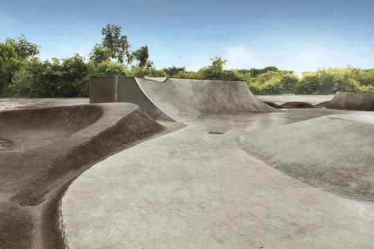 Empty skate park in the daytime