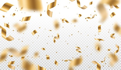 Golden serpentine streamers, confetti and ribbon swirls on transparent background. Vector design of Christmas and Birthday party, New Year carnival and anniversary decor with tinsel, glitter and stars