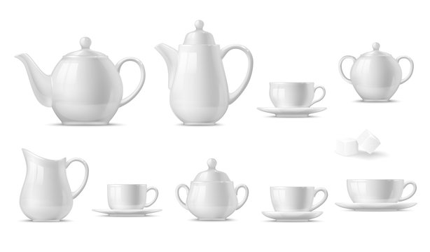 Tea or coffee set with 3d vector white cups, mugs and pots, teapot, sugar bowl, saucers and creamer. Hot drink or beverage crockery realistic design with ceramic or porcelain tableware