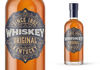 Vintage Whiskey Label Packaging Layout