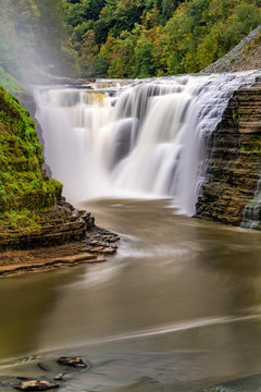 Close-Up Of The Upper Falls At Letchworth State Park
