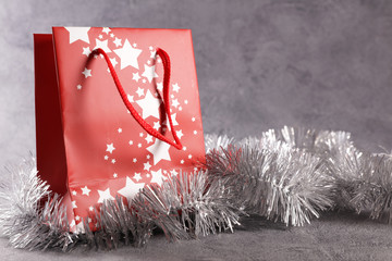 christmas shopping bag with decoration