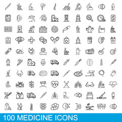 100 medicine icons set. Outline illustration of 100 medicine icons vector set isolated on white background