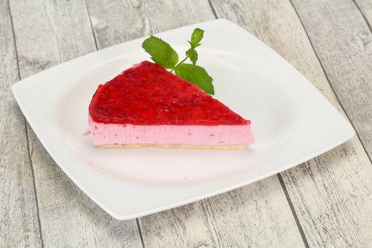 Soft Raspberry cheesecake served mint