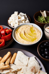 plate of hummus and vegetables