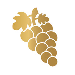 golden wine grapes icon - vector illustration
