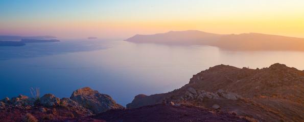 Spoed Foto op Canvas Chocoladebruin Aegean sea and the nature of Santorini island, Greece