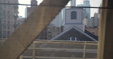 Fototapete - New York City downtown buildings from subway train