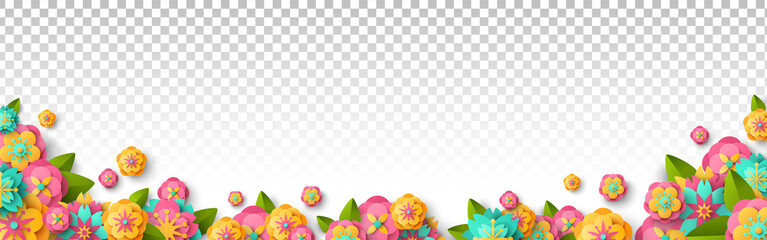 Spring flowers isolated on transparent background. Bright summer overlay effect, fresh floral border. Vector illustration.