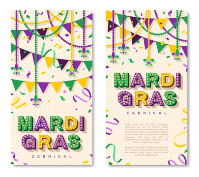 Mardi Gras vertical banner with typography design. Vector illustration with retro light bulbs font, streamers, confetti and hanging garlands