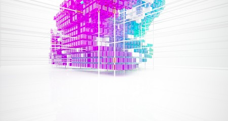 Abstract white and colored gradient glasses interior from array cubes with large window. 3D illustration and rendering. Fotoväggar