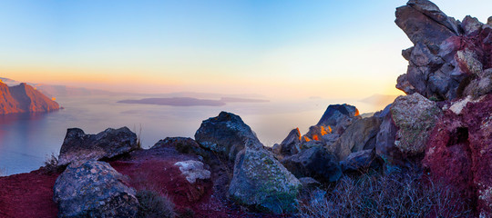 Aegean sea and the nature of Santorini island, Greece