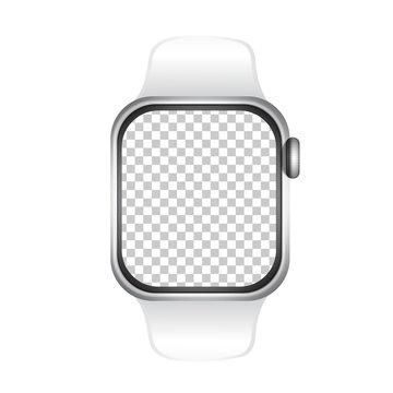 Watch realistically mockup screen png  isolated on background.