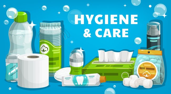 Hygiene and health care, man and woman personal daily use products vector poster. Toilet paper, shampoo and shower gel, toothpaste and mouthwash, facial cosmetic cotton pads and shaving foam