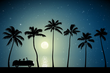 Retro car on palm beach on moonlit night. Vector illustration with silhouettes of woman and dog traveling in camper. Family road trip. Full moon in starry sky