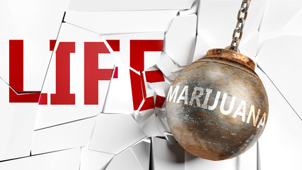 Marijuana and life - pictured as a word Marijuana and a wreck ball to symbolize that Marijuana can have bad effect and can destroy life, 3d illustration