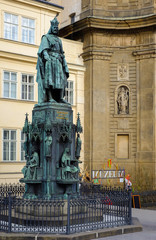 Statue of Charles IV king of Czech kingdom, Prague, Czech Republic. Tourism and travel.
