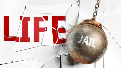 Jail and life - pictured as a word Jail and a wreck ball to symbolize that Jail can have bad effect and can destroy life, 3d illustration