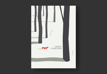Fox in Forest Christmas Card Layout