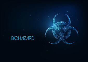 Futuristic glowing low polygonal biohazard symbol isolated on dark blue background.