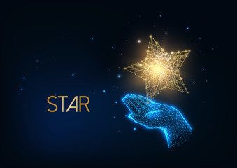 Futuristic people award, excellence concept with glow low polygonal human hand holding golden star.