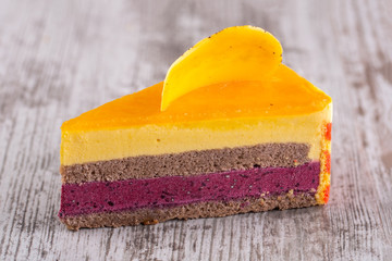 Chocolate biscuit, mango mousse and blackcurrant