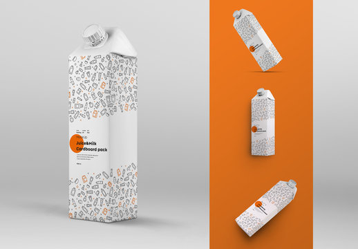 4 Square Drink Carton Mockups