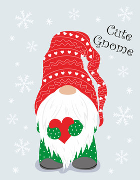 christmas winter card with cute gnome